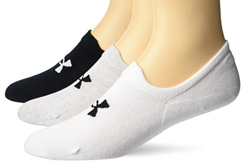Under Armour Adult Essential Ultra Low Tab Socks, 3-Pairs , White Assorted , Medium