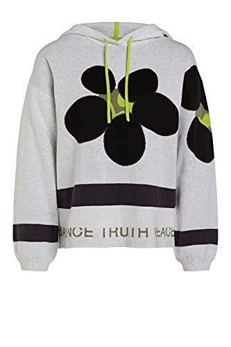 Oui Damen Pullover mit Kapuze lässig geschnitten Sonstiges Muster Freizeit