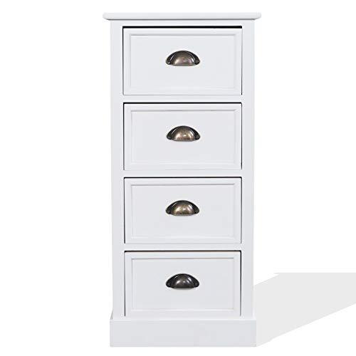 Rebecca Mobili Cassettiera 4 cassetti, comodino classico, bianco, legno paulownia, per camera bagno - Misure: 81 x 37 x 27 cm (HxLxP) - Art. RE4568