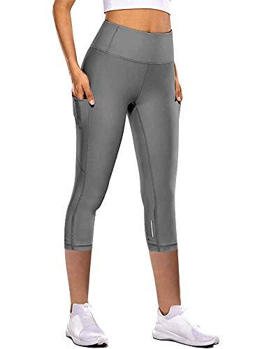 Sexy Dance Leggings capri para mujer, con bolsillos, cintura alta, pantalones de yoga, pantalones recortados, para correr, gimnasio