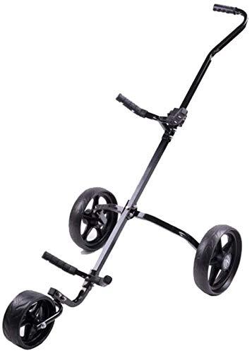 Gaorb040703 Durable Golf-Practice-Zubehör Golf Cart Swivel Faltbare 3-Rad-Push-Pull-Wagen Golf-Trolley Golf Push...