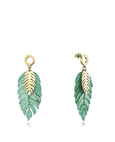 Pendientes Viceroy Chic con IP dorado forma dos hojas, una en resina verde y otra pequeña dorado