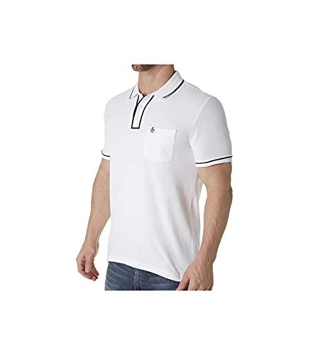 Original Penguin Men's Earl Short Sleeve Polo Shirt, Bright White/Dark Sapphire, X Large