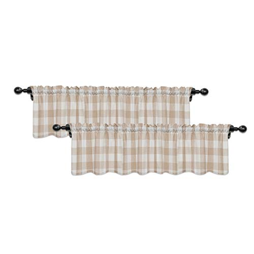 Buffalo Check Valances for Windows Living Room 18 inches Long Classic Gingham Plaid Bedroom Bathroom Rod Pocket Country Farmhouse Kitchen Window Curtain Valances - 2 Pieces, Beige & White