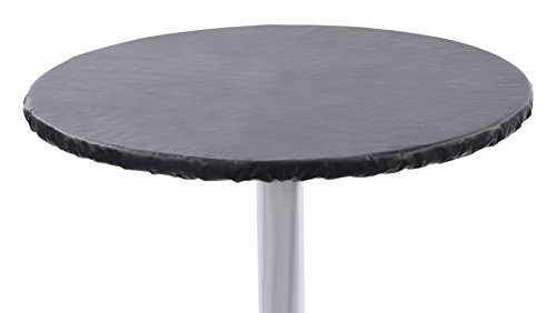"""Yourtablecloth Heavy Duty Vinyl Round Fitted Tablecloth (Table Cover) with Flannel Backing Vibrant Colors Elasticized Tablecloth Great for Indoor and Outdoor Dining and Playing Cards 48"""" Black"""
