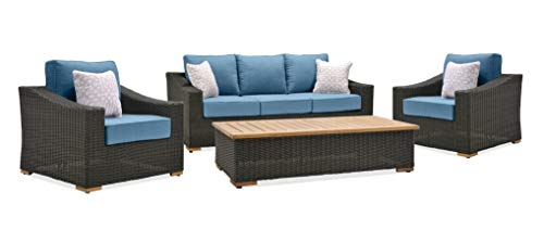 La-Z-Boy Outdoor New Boston 4 Piece Wicker Patio Conversation Set: Two Lounge Chairs, Sofa and Coffee Table (Denim Blue)