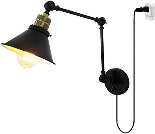 GIOAMH Lámpara de pared de hierro negro con interruptor y enchufe de cable, lámpara de pared de brazo largo ajustable flexible Aplique de pared estilo loft industrial vintage E27 Iluminación de lectu