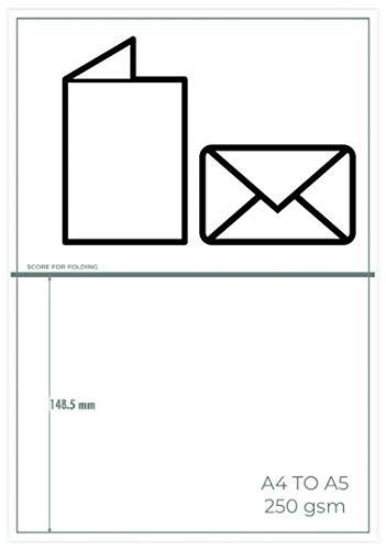 OfficeGear Große Grußkarten (DIN A5), 12 Stück, perforiert, bedruckbar, blanko, 250 g/m², mit Umschlägen, 148,5 mm x 210 mm im gefalteten Zustand