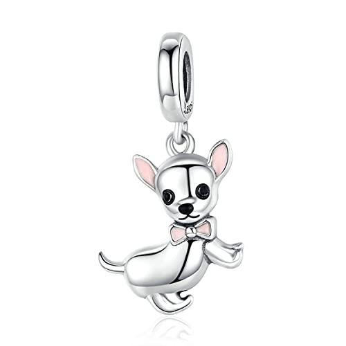 WMYDYBD Auténtico 925 Plata esterlina Chihuahua Perro Encanto Ajuste Pulsera Original Bricolaje Perlas Collar Colgante joyería Haciendo