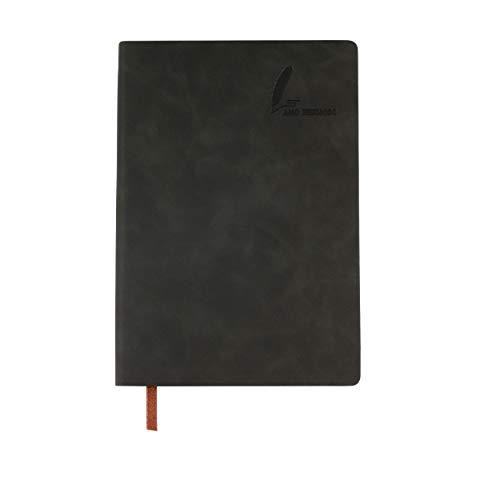 AMO HERMOSO A5 Notizbuch Cornell Kariert Notebook, PU Leder Tagebuch, 360 Seiten Squared Journal, Cornell Note-Taking, chwarz