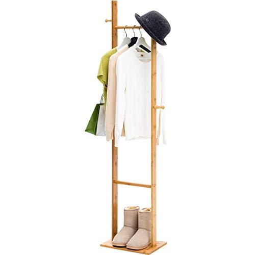 Perchero independiente Perchero de bambú, Perchero de madera independiente, con 4 ganchos y 1 estante de almacenamiento de niveles, para sombreros, bufandas, pasillo, entrada, entrada, perchero, per