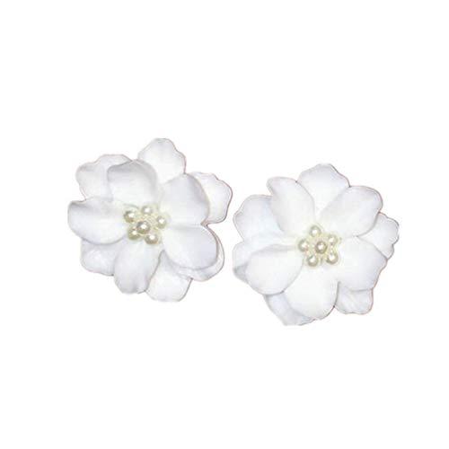 Ogquaton 1 par grandes aretes de flor de camelia blanca para las mujeres regalo elegante Stud pendientes de la joyera durable y til