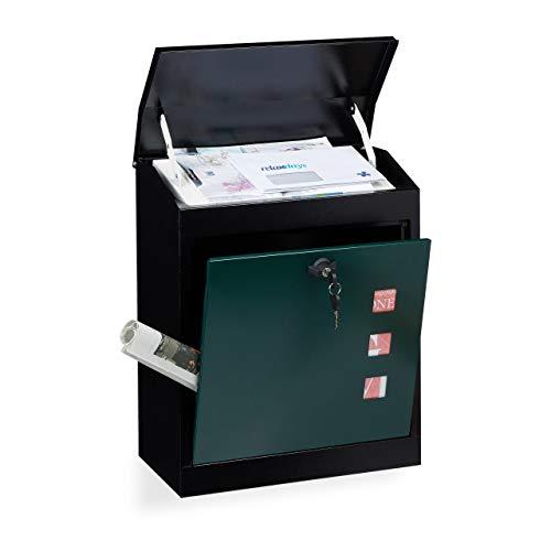 Relaxdays Briefkasten groß, Stahl, Sicherheits-Klappe, Schloss, HxBxT: 53 x 43,5 x 26 cm, Wandbriefkasten, Schwarz-Grün