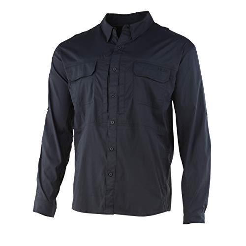 Huk Men's Beaufort Long Sleeve Shirt | Button Down Performance Fishing Shirt with UPF 30+ Sun Protection, Black, Large