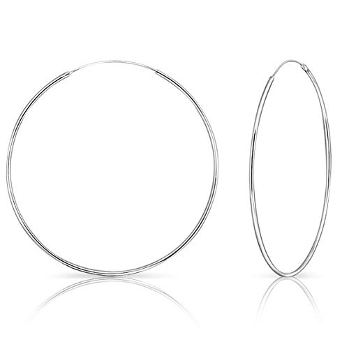 DTPSilver - 925 Sterling Silver Large Hoops Earrings - Thickness 1.2 mm - Diameter 70 mm