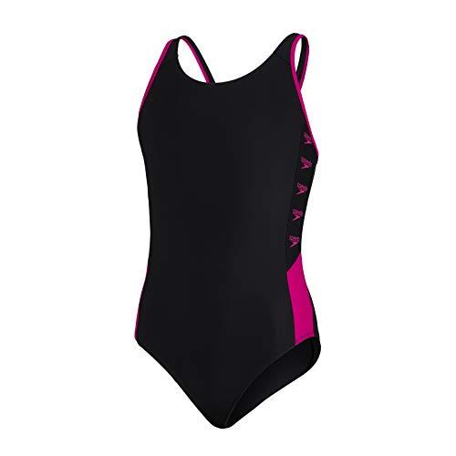 Speedo Boom Logo Splice Muscleback Mädchen Badeanzug, Schwarz/Electric Pink, 11-12 Jahre