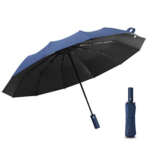 MAOYUTOU Paraguas Plegable, 12 Varillas de Acero Inoxidable Paraguas de Bolsillo Automático de Apertura Y Cierre con Bolsillo para Paraguas, Resistente al Viento, Estable