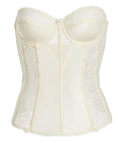 Women's Lace Longline Corset - Full Length Bridal Bra with Garters - Ivo34C Ivory