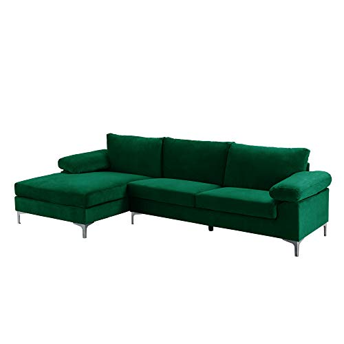 Casa Andrea Milano llc Modern Large Velvet Fabric Sectional Sofa, L-Shape Couch with Extra Wide Chaise Lounge, Emerald