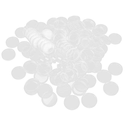 100 Boxed Münzdosen Münzfach Münzkapseln Transparente Farbe - 33mm