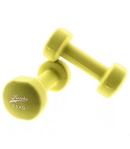 Riscko Juego 2 Mancuernas Amarillas de Vinilo de 0,5 kg