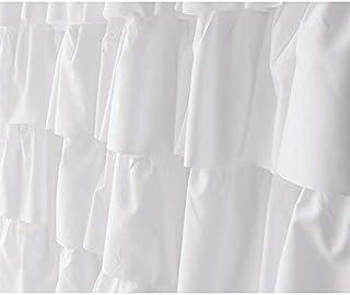 Nrpfell Ruffle duschdraperi heminredning mjuk polyester, dekorativa badrumstillbehör bra för duschar och badkar vit, 71 71