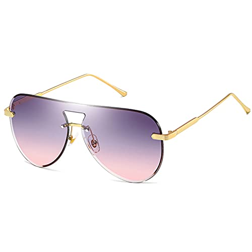 LUOXUEFEI Gafas De Sol Gafas De Sol Sin Montura Mujer Oro Marrón Lente Grandes Gafas De Sol Para Hombres Viajes Al Aire Libre