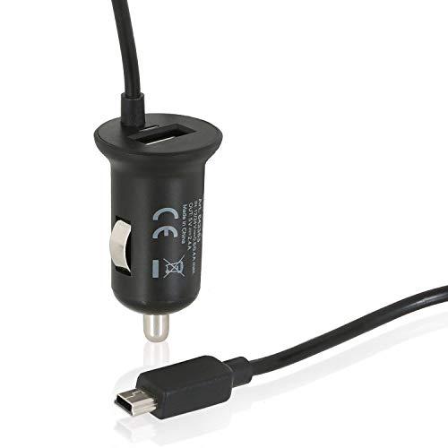 Wicked Chili 2in1 KFZ TMC Ladegerät kompatibel mit Becker Active 43, Professional 43, Z217, Z215, Z213, Z205, Z203, Z116, Z113, Z112, Z103 mit USB Port für Handy und Tablet (140cm / 2400mA) schwarz