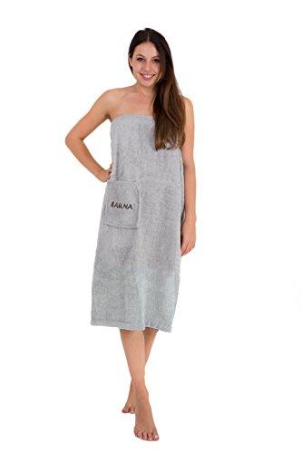 Julie Julsen Saunakilt für Damen 90 x 150 cm Druckknöpfen und Gummizug 100% Baumwolle Tasche aufgesetzt Silber