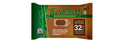 Ace travel Buddy Salviettine Umidificate Grandi Biodegradabili - Perfette per Stare freschi Dopo Palestra, Sport, in Viaggio, in Campeggio, Trekking Accessori
