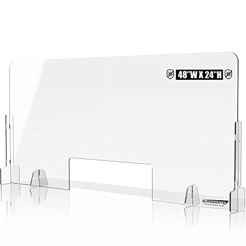 GuardMate Plexiglass Shield Premium Commercial Grade Sneeze Guard DUAL Lock Design Acrylic Divider Portable Plastic Barrier Shield Reception Desk Cashier Checkout Counter (1, 48' Wide x 24' Tall)