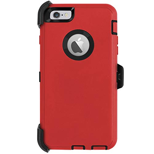 AICase iPhone 6 Plus Case,iPhone 6S Plus Case [Heavy Duty] Built-in Screen Protector Tough 4 in 1 Rugged Shockproof Cover for Apple iPhone 6 Plus / 6S Plus (Black/Red with Belt Clip)