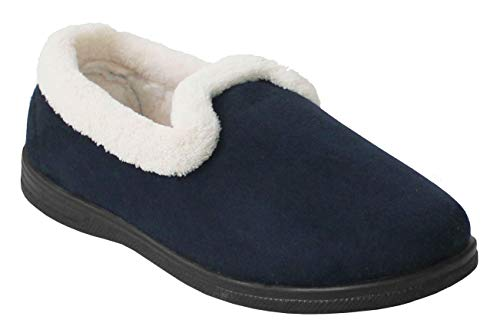 Cushion Walk New Ladies Slip On Winter Fleece Lined Warm Hardsole Flower Mules Slippers Sizes UK 4-8 (7 UK, Navy Blue)