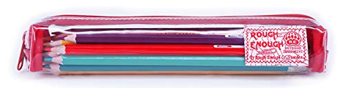 Rough Enough Slim Thin Small Cute Clear Pencil Case Pouch for Kids Boys Girls Adults School Stationary Art Supplies for College Students Teacher Office