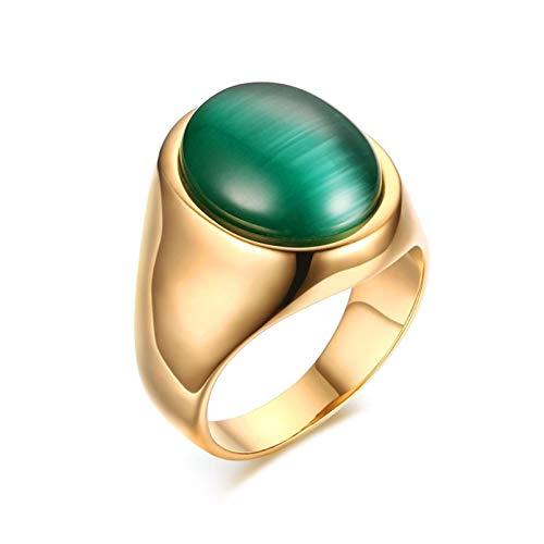 JJLESUN Anillos de Piedra Ovalada Verde para Hombre Acero Inoxidable Color Dorado