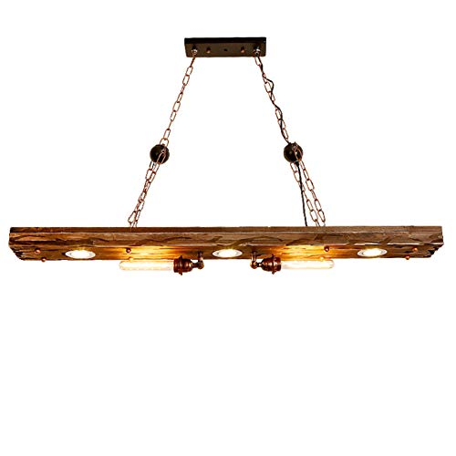 *LL Candlestick Chandelier Retro Industrial Style Wood Art Lampe Indoor Decorative für Living Room Bar Cafe Pendent Lights,Woodcolor,120cm*