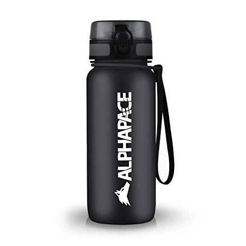 ALPHAPACE Trinkflasche, auslaufsichere 650 ml Wasserflasche, BPA-freie Flasche für Sport, Fahrrad & Outdooraktivitäten, Sportflasche mit Fruchteinsatz, in Schwarz