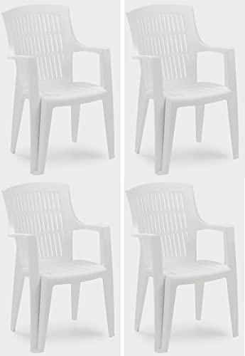 SF SAVINO FILIPPO 4 sillas Arpa de resina dura de plástico blanco con respaldo alto para jardín, balcón, para casa, bar, restaurante, exterior e interior