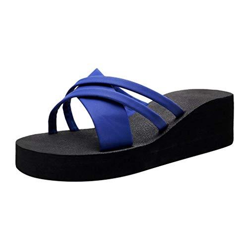 HUADUO Mujeres Yoga Sling Flats Sandalia Slip On Pantuflas Separadores de Dedos Sandalia de Ducha Mula de Playa Suela Antideslizante Zapatos de Piscina