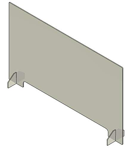 Plexiglass Sneeze Guard - 48'w x 28'h Protective Freestanding Shield Guards Against Sneezing and Coughing/Transaction Window for Offices and Stores / 1/4' Thk (21'w X 2.5'h CUTOUT)