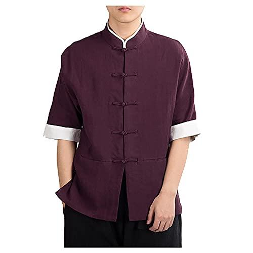 Camisa de Manga Corta de Traje Tang China Traje Tang Traje Tradicional Lino de Verano Tops de Manga Corta Bordados (Color : Red, Size : M)