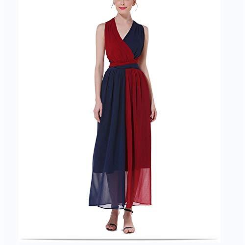 Bademode Fashian Dunkelblaues, kontrastfarbenes Neckholder-Kleid mit Strandriemen Bikinis (Color : Red, Size : S)