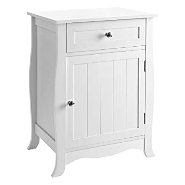 SONGMICS White nightstand Bedside Table Wooden End Table Chair Side Table with Drawer and Cabinet Organizer for Storage ULET02WT