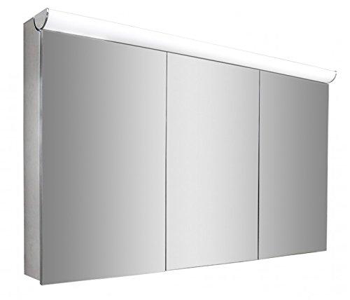Spiegelschrank Multy BS120 mit Innenverspiegelung, Steckdose & LED-Licht - Breite 120cm