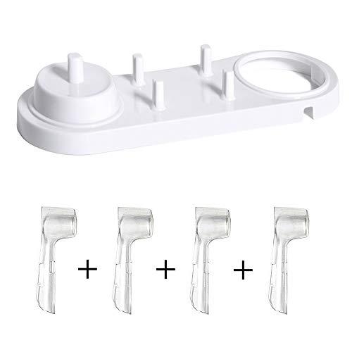 Nincha support pour tête Brosse à dents électrique avec support de brosse à dents électrique + 4 pcs Têtes de brosse à dents Coque pour Oral-B