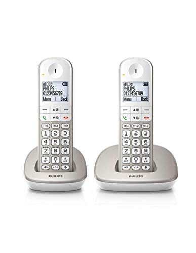 Philips XL4901S/23 - Pack de 2 Teléfonos Fijos Inalámbricos (16 Horas, Audífonos Compatibles, Marcación Directa, Manos Libres, 2 Números por Contacto, Antideslizante, Reducción de Ruido) Blanco/Dorado