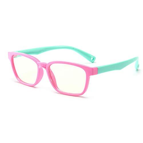 LuckyOne Flexibles Niños Gafas Ópticas Flexible de una sola pieza Segura Gafas de Espejo Liso de Silicona Anti-Azul de Luz Gafas de Marco