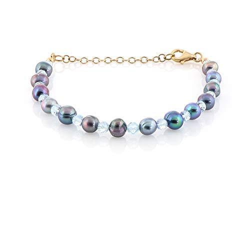 Natural and multicolor Pearl and Blue Topaz Bracelet gift for your birthday, wedding, christmas and halloween gift