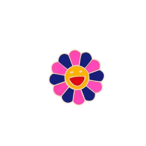 4 colores flores broche moda arco iris flor esmalte pines sonriente girasol broches lindo bolso icono insignias hombres mujeres regalos
