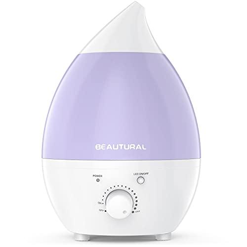 1byone 1.3 litros Humidificador ultrasónico, No Ruido & Luces LED de 7 Colores con la función Apagado automático para su hogar y Oficina